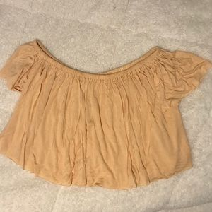 Urban Outfitters off the shoulder peach crop top